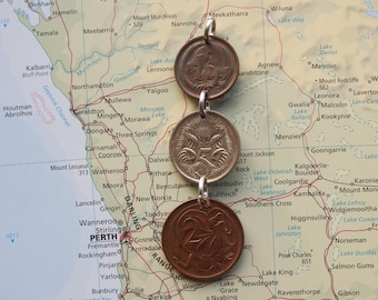 Australia coin necklace/keychain - 4 different designs - made of an original coins from Australia - Wanderlust - kangaroo