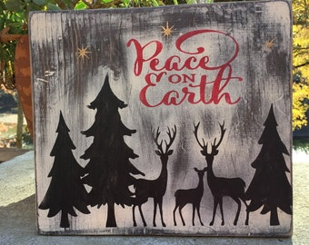 Peace on Earth,Christmas wood Sign,Holiday wood art,Hanging Wood Reindeer Sign,Rustic Christmas wood Decor,Gallery wall art,Christmas decor