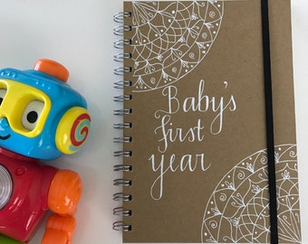 A5 hand drawn journal journal diary notebook 'baby's first year' personalised quote book mandala