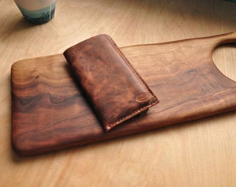 Peronsalised Simple Leather Phone Case / Iphone Pouch / Mobile / Cell Phone Sleeve in Speckled Brown