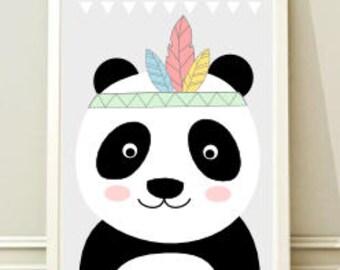 Printable Nursery Wall Art Print, Kids Art Print, Animal Nursery Print, Instant download, Panda poster, Kids room