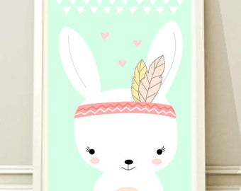 Nursery Wall Art Print, Kids Art Print, Animal Nursery Print, Modern Nursery Decor, Bunny poster, Kids room