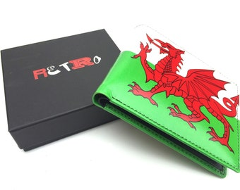 Welsh Flag mens premier quality leather bifold wallet