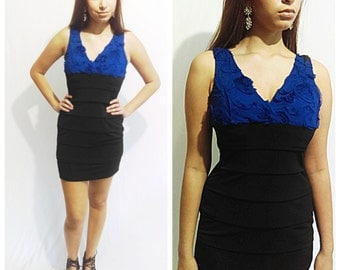 Beautiful Black and Royal blue dress Vintage Mini Dress By Sweet Storm Size M 90's Vintage Dress