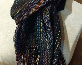 Handwoven, Hand Dyed scarf with twisted fringe 100% cotton
