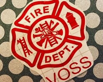 Fire Dept Decal | Fireman | Firefighter Decal | Maltese Cross | Fireman Wife Decal | Vinyl Decal | Monogram Decal | Car Decal | Laptop Decal