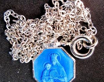 Vintage Blue Enameled Octagonal Reversible Jesus Mary Pendant Chain Necklace