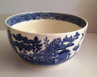 """Wedgwood 'Willow' Fine China 6"""" Round 3"""" Deep Bowl Decorated Inside and Out - Etruria England; VIntage"""