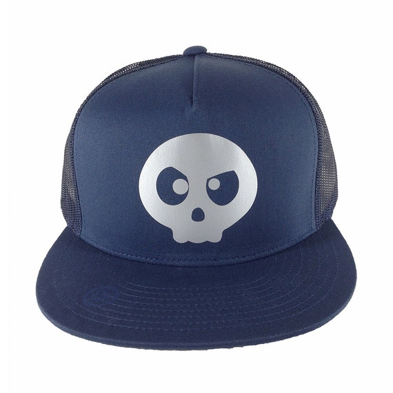 Angry Skull, Navy Blue Trucker Hat, Anime Style Cap, Gamer Trucker Hat, Navy Trucker Cap, Otaku Gift, Gamer Gift, Geek style, Geek gift