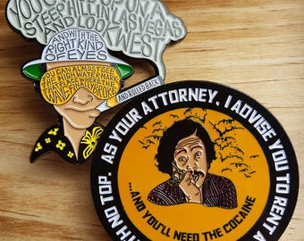 Fear And Loathing In Las Vegas Pin Set.  'Crest Of A Wave' & 'As Your Attorney' Pins.