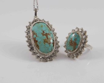 You're a Queen Genuine Persian Turquoise Necklace and Ring Set with Sparkling White Crystals/Sterling Silver