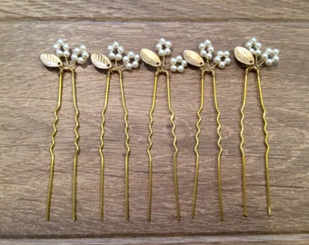 Gold Leaf Bridal Hair Pins, Bridal, Bridesmaid