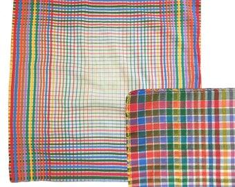 "Vintage Rainbow Plaid Cotton Napkin — 18"""