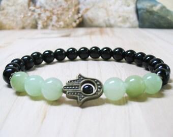 Hamsa Bracelet Black Onyx Bracelet Jade Bracelet  Gemstone Bracelet Mens Bracelet Healing Bracelet Good Luck Bracelet Spiritual Bracelet