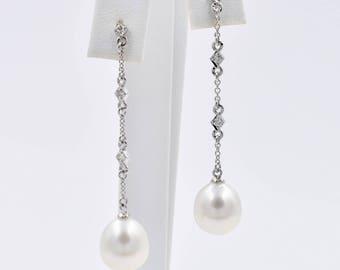 South Sea Pearl and Diamond Dangle Earrings, 14K White Gold, 10mm