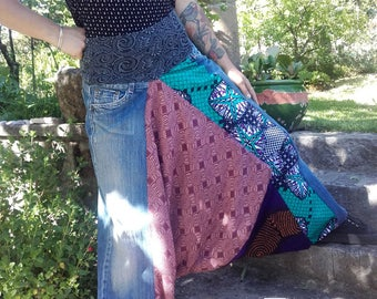 Harem pants mixed composition patchwork jeans and purple size Sahara S Akwaba Creations fabric