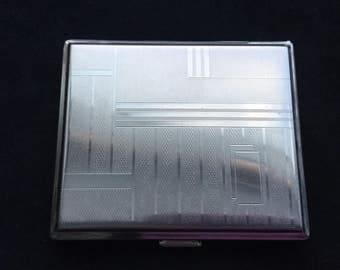 Slim silvertone mid century cigarette case