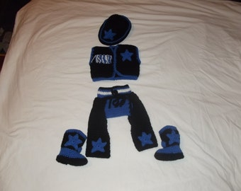 Crochet baby boy cowboy set