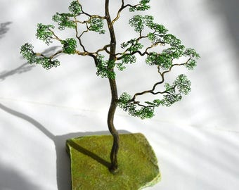 Sculpture tree rock birthday gift wire art gift a loved one home office decor miniature tree wire tree wedding gift home and living tree