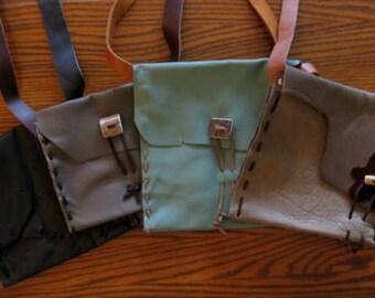 Leather Shoulder Bags with Elk Antler Button