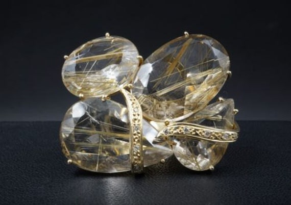 18K Rutilated Quartz Statement Ring with Diamond Accents RG837
