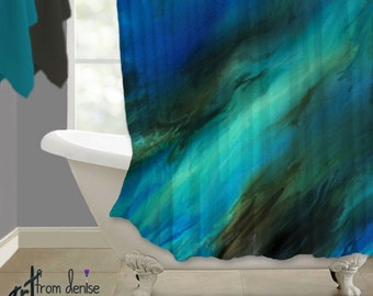 brown and turquoise shower curtain. Contemporary Shower curtain  Blue brown abstract shower Teal aqua turquoise bath decor Mint Green Curtain White Aqua Turquoise