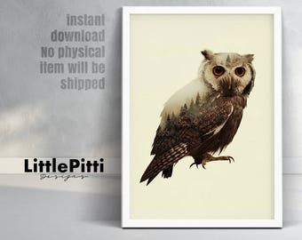 Owl decor, woodland animals, owl art, double exposure, owl wall art, bird decor, woodland decor, owl printable art, owl photo, room decor