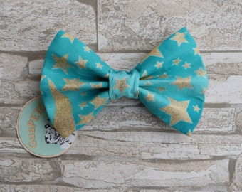 """Bow Tie Bowtie """"Winter Eve"""" for dogs, cats or other pets, light blue with golden stars"""