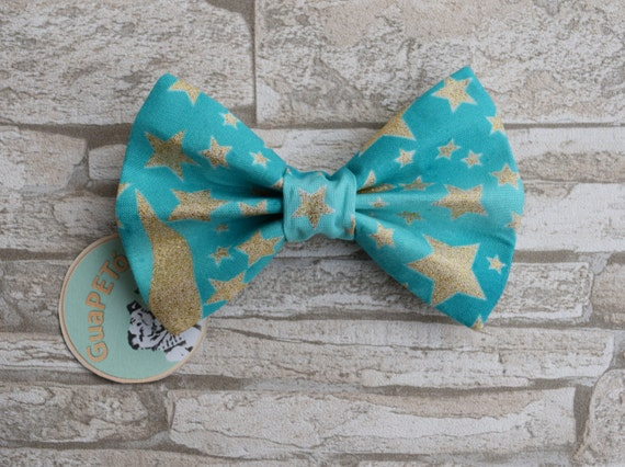 "Bow Tie Bowtie ""Winter Eve"" for dogs, cats or other pets, light blue with golden stars"