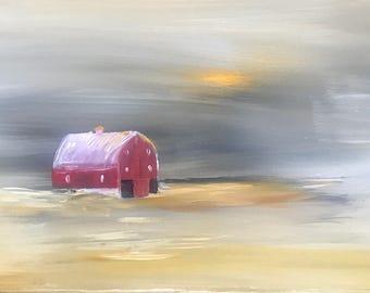 Red barn with Sun thru smoky sky