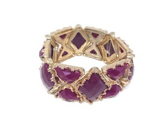 Gorgeous Plum Purple Stone Gold Tone Estate Stretch Bracelet