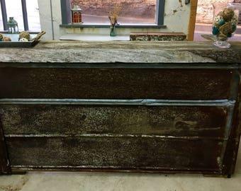 Reclaimed Barnwood and Tin L-shaped Bar