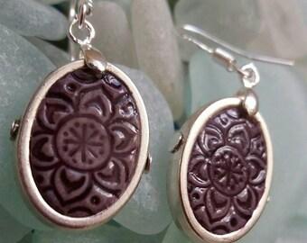 Purple handmade tile earrings