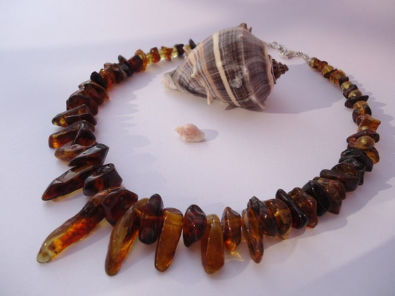 Mexican red, orange, yellow amber necklace. Handmade. Silver clasp. One of a kind