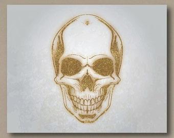 Gold Glitter Skull Canvas Print