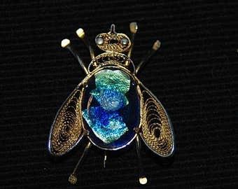 Vintage Insect  Bee Brooch, Blue, Green & Black Glass Stone Body,  Gold Filigree Wings Beetle Jewellery, Elegant  Lady's Brooch
