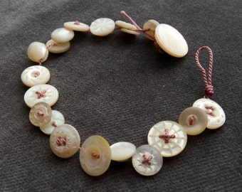 Deep Pink Bracelet with tiny vintage shell buttons