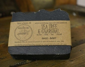 Tea Tree Charcoal Soap | Facial Soap, Activated Charcoal Soap, Tea Tree Face Soap, Detox Soap, Acne Soap, Black Soap, Face Soap, Large 5oz