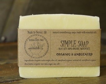 Unscented Organic Soap | Shea Butter Soap, Gentle Organic Soap, Moisturizing Soap, Unscented Soap, Vegan Soap