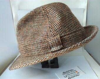 Vintage, brown tweed, Men's Fedora hat, trilby hat, brown size 7 1/4, 59cm, Fedora by St Michael, Great Britain, vintage Fedora, wool Fedora