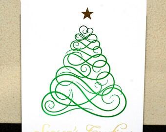 Christmas Cards, Christmas Card Set, Holiday Cards, Christmas Tree, Filligree, Christmas Tree Cards, Foiled Cards, Set of 4