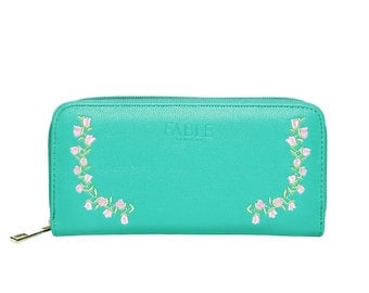 Green Rose Embroidered Purse