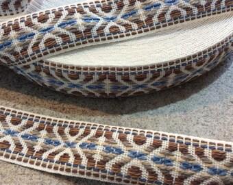 2 yards boho woven trim ribbon  hippie 1 inch wide beige bluemulti color