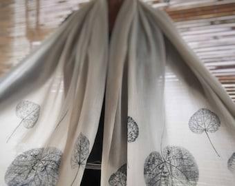 Indigo Wool Shawl - MADE TO ORDER. Eco print shawl, botanical dye, natural wrap, indigo shawl, winter scarf, women's scarves, mbpblue