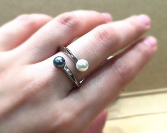 US 8, Real Pearl Ring, Freshwater Pearl Ring, 925 sterling silver band