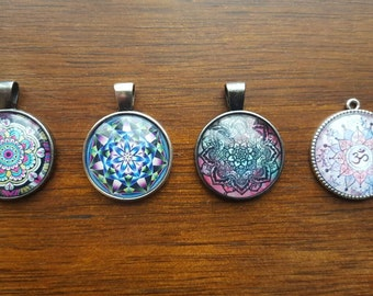Mandala cameo pendant necklaces