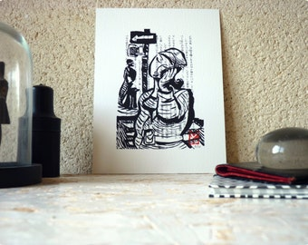 Drawing ink - woman on the phone - limited Digital Edition / signed / numbered