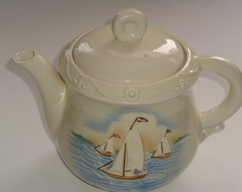 Large Vintage Porcelier USA Sailing Ship / Nautical Scene Teapot