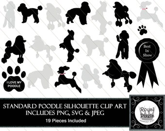 Standard Poodle Silhouette Clip Art Set - 19 Piece - Pet Dog Silhouette - 7 inches - Instant Download - Printable - SVG, PNG & JPEG #55