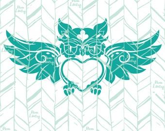 Valentine Owl, Monogram SVG, Heart SVG - Digital Download Cricut File